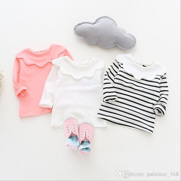 ins Korean cute style baby girl stripe and Solid color Flower collar long sleeve T-shirt 100% cotton kids autumn clothing 3 colors