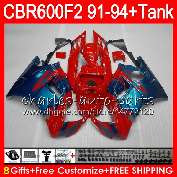 gloss red 8 Gifts 23 Colors For HONDA CBR600F2 91 92 93 94 CBR600RR FS 1HM23 CBR 600F2 600 F2 CBR600 F2 1991 1992 1993 1994 red blue Fairing