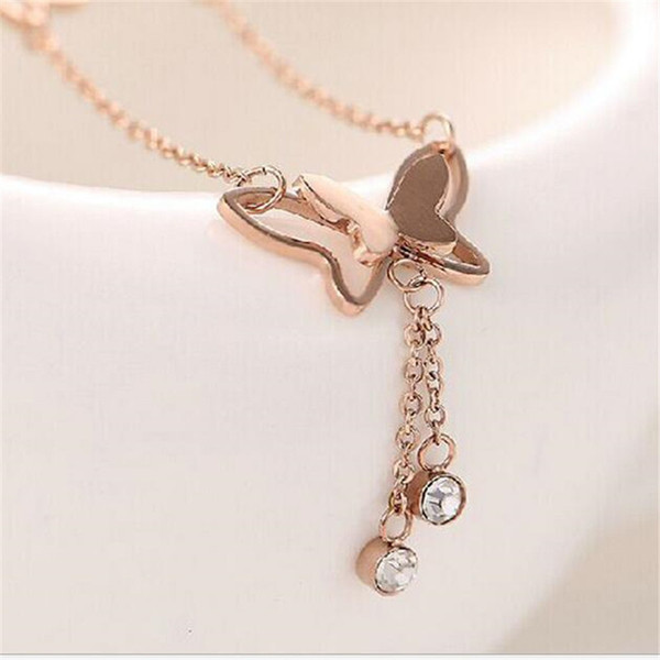 Anklets for Women Jewelry Rose Gold Butterfly with Crystal Charms Anklets Bracelet Wholesale Foot Chain Accessories DHL Free Christmas Gift