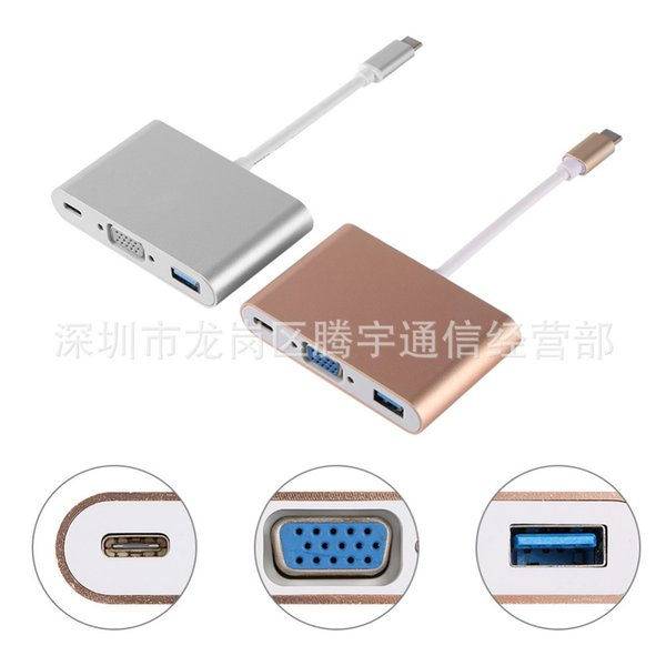 3 in 1 Type C 3.1 Port USB Hub Adapter Cable to USB3.0/VGA Female Charger Adapter for Macbook