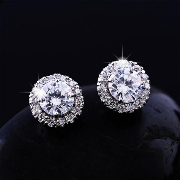 top popular New Arrival Best Friends 18K White Gold Plated Earings Big Diamond Earrings for Women White Zircon Earrings 2021