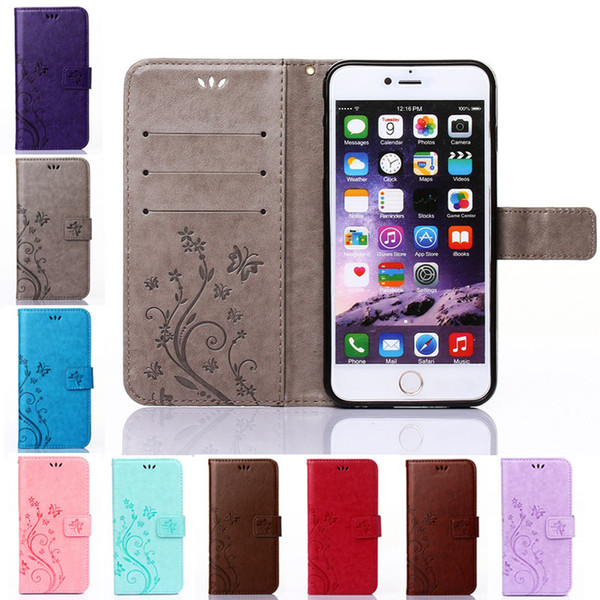 For Apple iPhone 5 SE 5S 4 4S 6 6S 7 Plus Fashion Flower Printing Flip PU Leather Phone Case Wallet Stand Cover with Card Slots
