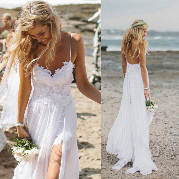 2019 Sexy Spaghetti Straps High Slits Boho Wedding Dress Sweetheart Appliques Lace Backless Beach Wedding Gown A-Line Bridal Dress