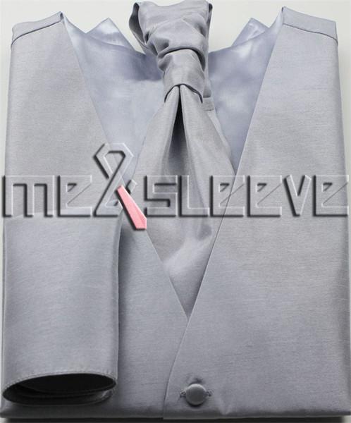 NEW!!!!MENS SUIT plain silver Vest (Vest+cravat+hanky+cufflinks)