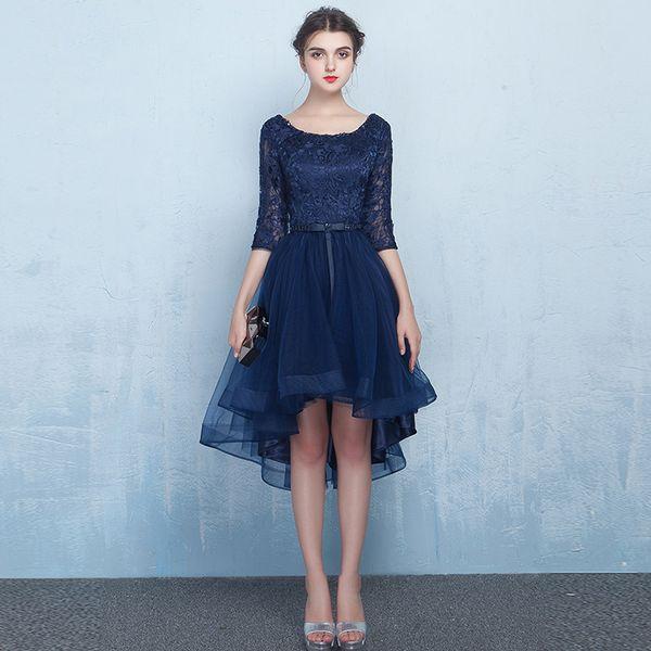 2017 Dark Navy Asymmetrical Short Prom Dresses Lace Knee Length ...