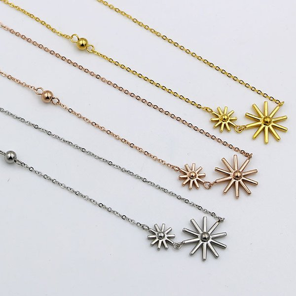 The hot sun rose gold jewelry necklace titanium shelter light necklace steel rose gold