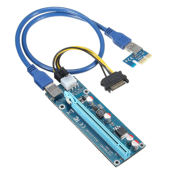 Wholesale- PCIe 1X 4x 8x 16x Extender Riser USB 3.0 PCIE Riser Card Express Adapter Card SATA IDE 15pin Male to 6pin Power Cable for Mining