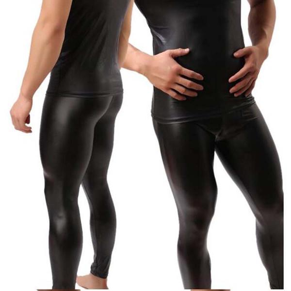 Wholesale-High Quality Mens Black Faux Patent Leather Skinny Pencil Pants PU Stretch Leggings Men Sexy Clubwear Bodywear Trousers