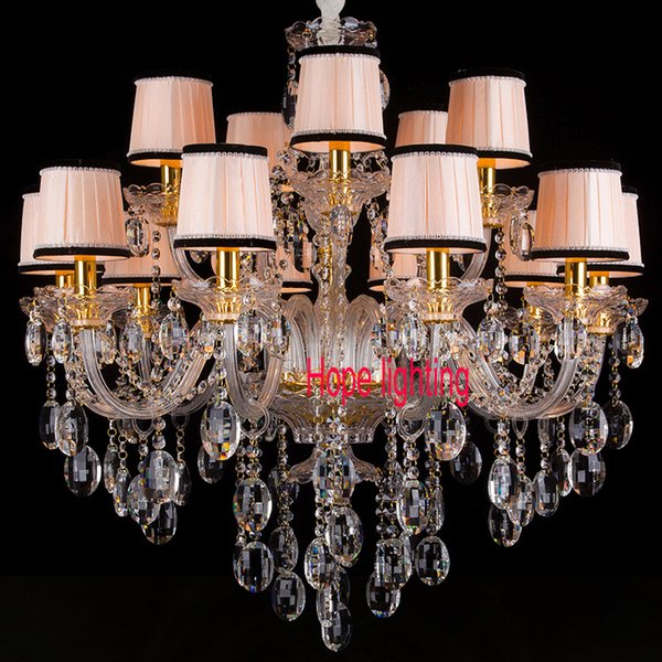 modern living room dining room crystal chandelier with fabric lampshade gold color luxury chandelier light for parlour bedroom pendant lamps