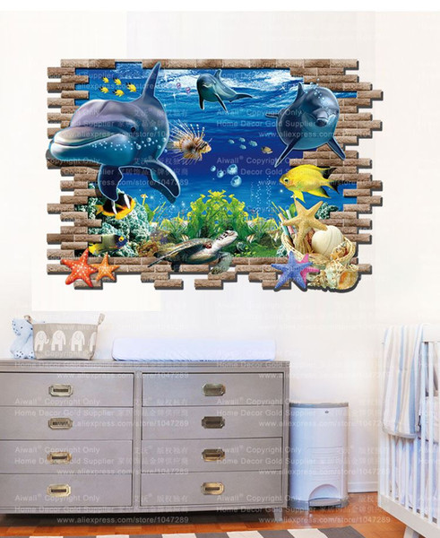 3002 Sea World 3D Cartoon Wall sticker for Kids Room Removable PVC Art Decal Home Decoration Free Shipping