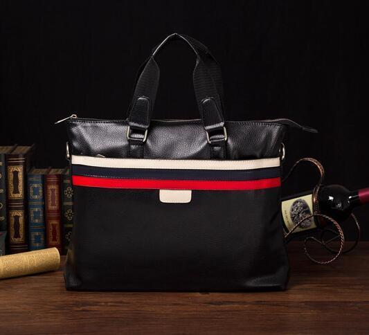 factory sales brand package Korean striped handbag men business casual fashion color of men Leather Mens handbag briefcase