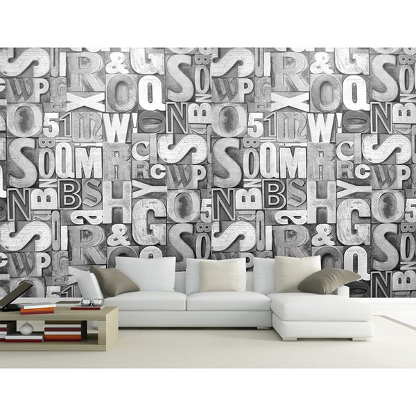 Home Decor Living Room Natural Art Mural 3d Wall Papers For Tv Backdrop Grey Letter