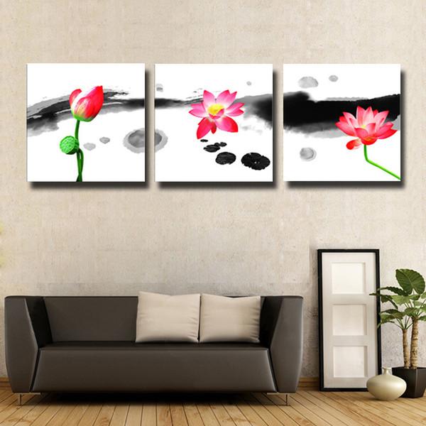 3 pçs / set lótus abstrato china modern home wall decor pintura da arte da lona hd impressão pintura para sala de estar # 123