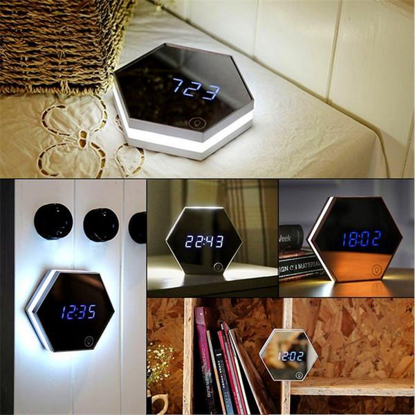Wholesale Hexagonal Mirror Alarm Clock USB Charging Multifunctional LED Mirror/ Night Light/ Calendar/Thermometer Function DHL free