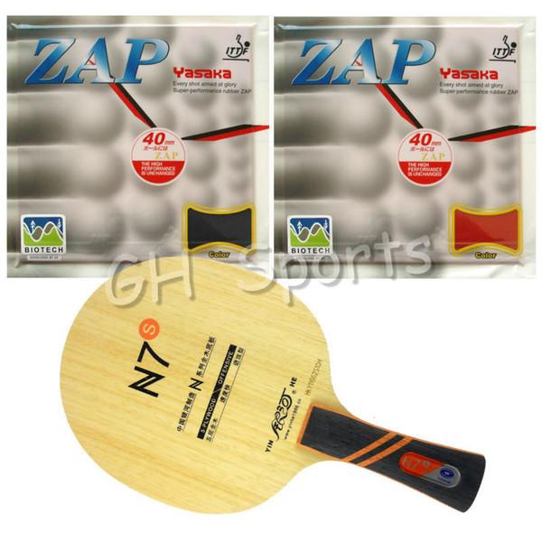 Wholesale- Pro Table Tennis PingPong Combo Racket Galaxy YINHE N7s with 2x Yasaka ZAP 40mm BIOTECH H36-38 NO ITTF Rubbers long Shakehand FL