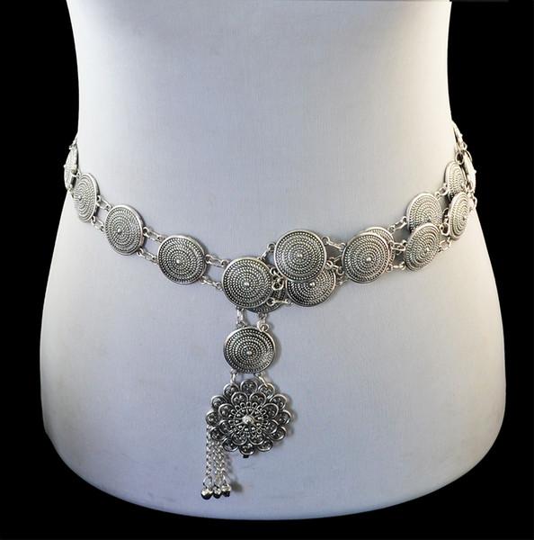 Idealway Bohemio Aleación de plata Talla de moda Cuerpo redondo Cadena Campanas Borla Talla Ahuecar Flor de cintura Cintura