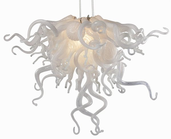 New Arrival Small Cheap Chandelier White Color and Edison Bulb Light Source Popular Murano Glass Art Chandelier for Wedding Centerpieces