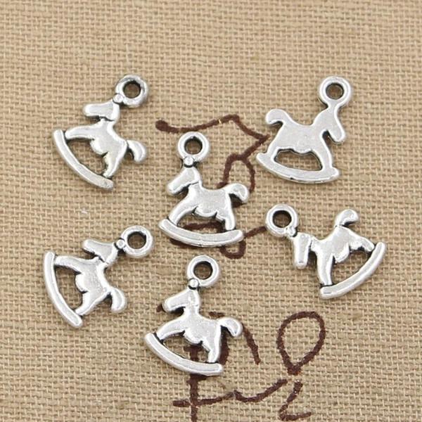 Atacado-99 centavos 15pcs encantos cavalo de balanço 13 * 10 mm Antique fazendo pingente fit, prata tibetana do vintage, DIY pulseira colar