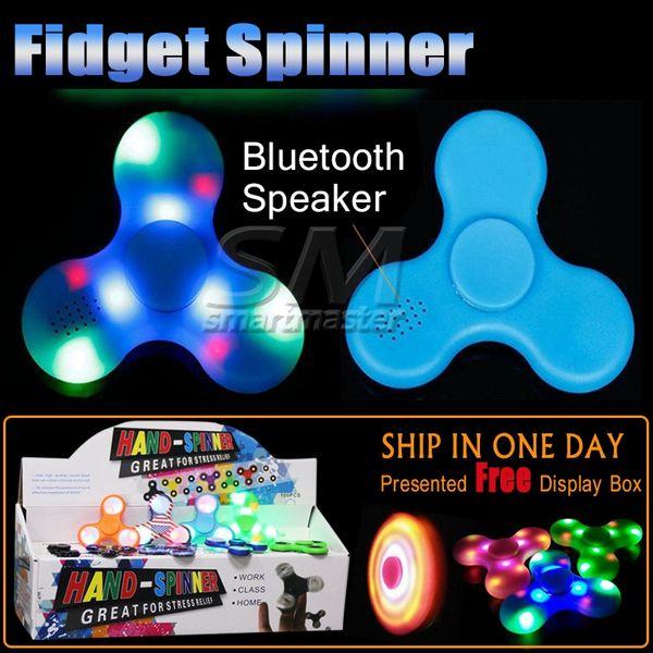 top popular New Arrival Multifunction LED Fidget Spinner Bluetooth Speaker EDC Music Triangle Hand Spinner Fidget Toy For 2020