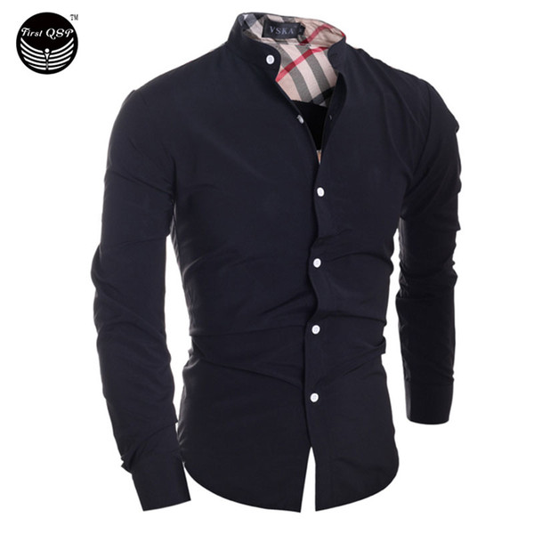 Wholesale- 2016 Men'S Fashion Men Shirt Classic Plaid Stitching Camisa Masculina Long-Sleeved Shirt Male Shirts Men Shirt XXL IYW2