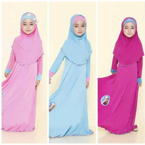 2017 Girls Muslim Islamic Nation Dress Long Dress+Kerchief+Bowknot 3 Piece Kids Children's Clothing Pure Colors Costume