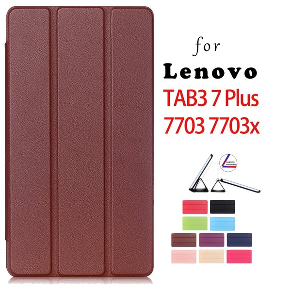 Wholesale- Case for Lenovo TAB3 7 Plus 7703 7703x 7 inch tablet PU leather case + stylus pen as gift