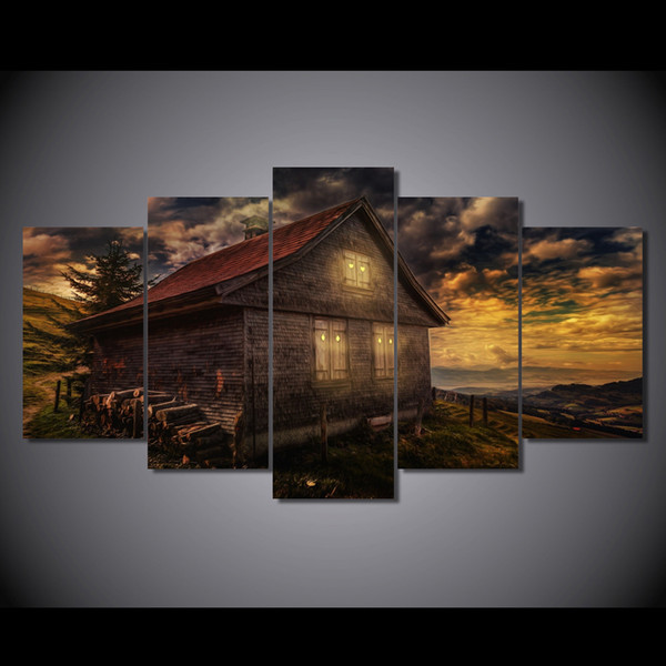 5 Pcs/Set Framed HD Printed House Sunsets Great Clouds Picture Art Print Poster Canvas Modern Oil Painting