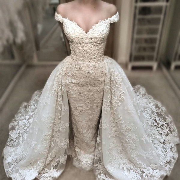 Vintage Lace Mermaid Wedding Dress With Detachable Over-Skirts Charming Off Shoulder V-Neck Wedding Gowns Beaded Applique Bridal Dresses