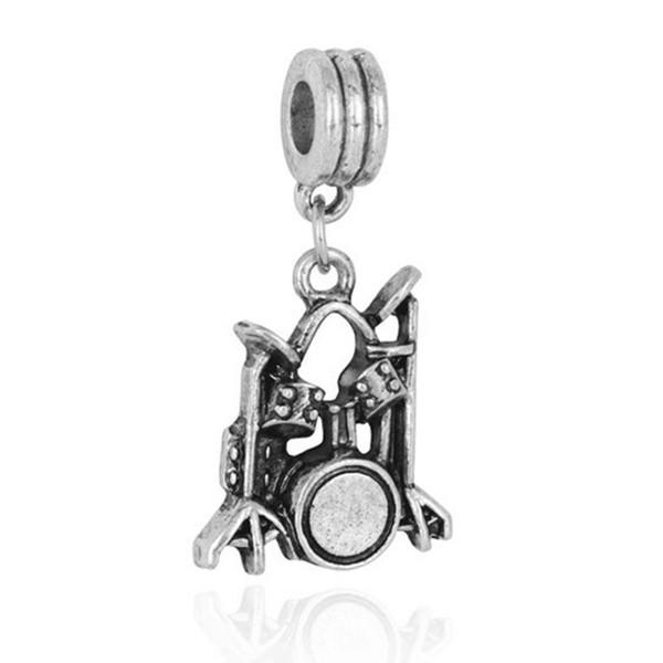 Wholesale 20pcs/lot Fashion Tibet Silver Durm Set Design Alloy metal Dangle DIY Charms fit European Bracelet &Necklace Low Price