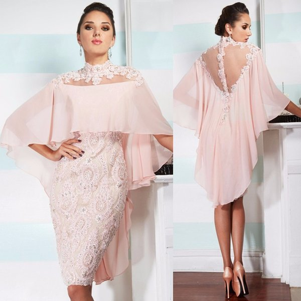 2019 Pink Lace Beaded Women knee length Plus Size Evening Dress Wedding Party Dress Mother Of The Bride Groom Dresses with jacket