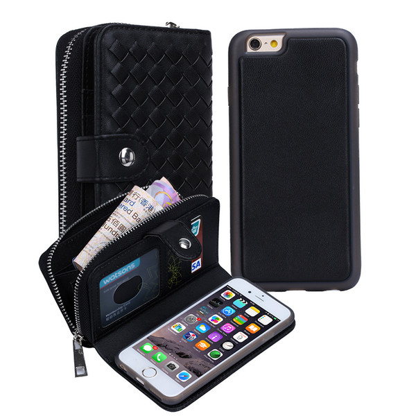 Carteira de couro case para iphone x 8 plus destacável slot para cartão de bolso capa protetora case para samsung s9 plus s7 edge handbag