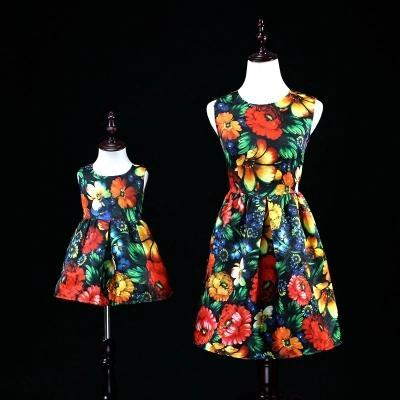Mother Daughter Floral Print Tutu Dresses 2017 Mom and Me Sleeveless Matching Dress Mother and Maughter Clothes for Party Kids Years Wear