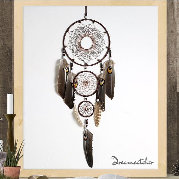 80cm Grand Dreamcatcher avec 5 Cercles Plume Eagle Tenture Décoration Décoration Décor À La Maison Ornement À La Main Dream Catcher