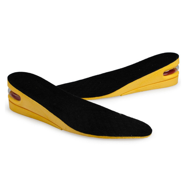 2 layers Men Insole PU Height Increase 5 cm Shoe Pad lift Air Cushion For Boots And High-top Sneaker Insoles