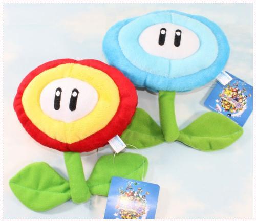 New Ice & Fire Flower Super Mario Bros Plush Dolls Stuffed Animals Toy ( 2pcs/Lot / Size : 17cm)
