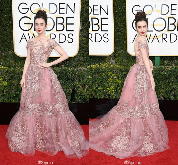 New 2019 74th Golden Globe Awards Lily Collins Celebrity Evening Dress  Sheer Backless Sheer Pink Lace Applique Prom Gowns Red Carpet Dresses