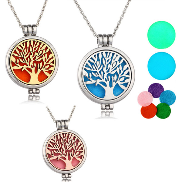 "top popular Tree of life Aromatherapy Essential Oil Diffuser Necklace Locket Pendant 316L Stainless Steel Jewelry with 24"" Chain and 6 Washable NE576 2019"