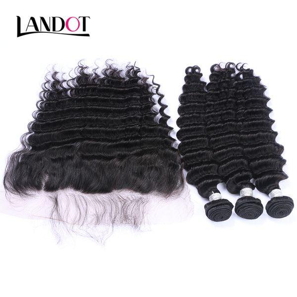 Ear to ear lace frontal clo ure with 3 bundle brazilian deep wave curly virgin hair peruvian indian malay ian human hair weave clo ure