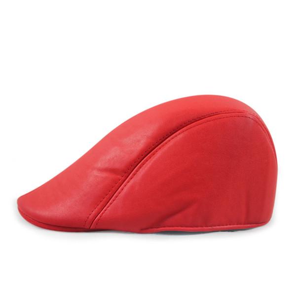 Al por mayor-alta calidad de cuero lvy caballero hombres Cap Bonnet Newsboy Beret Cabbie Gatsby plana Golf Hat Brown Color negro