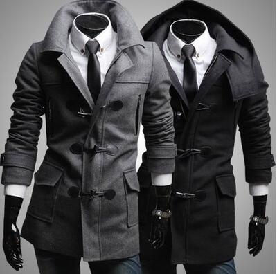best selling Wholesale- Men's Trendy Slim Fit Toggle Duffle Coat With Hoodie Black Grey Coats Notched Collar Windproof Stylish Dust Coat for Men Warmful