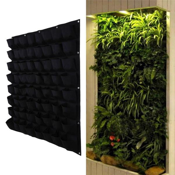 Vertical Felt 64 Pocket Hanging Plant Bag Indoor/Outdoor Wall Mounted  Seedling Herb Pot