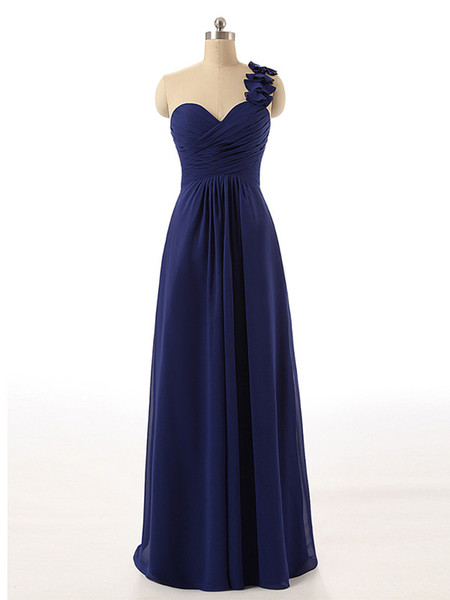 Sweetheart With Flower One Shoulder A Line Chiffon Plus Size Navy Blue Bridesmaid Dress Long 2017 Floor Length Under 50 Wedding Guest Dress