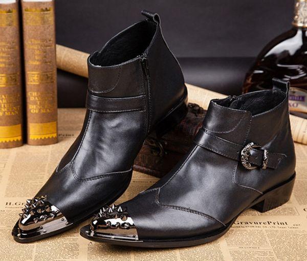New 2016 Autumn Winter Rivets Men Boots Black Genuine Leather Oxfords Formal Dress Shoes Business Man Wedding Ankle Boots Plus Size 38-46
