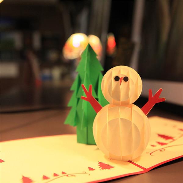 Nuovo creativo fatto a mano Kirigami Origami 3D Pop UP Regalo di auguri Cartoline di Natale Albero di Natale Pupazzo di neve
