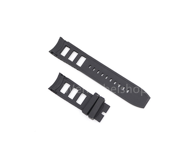 26mm (24mm Buckle End) New Style Men Women Black Strap High quality Polysulfide Silicone Rubber Wrist Watch Band Belt Strap For watch