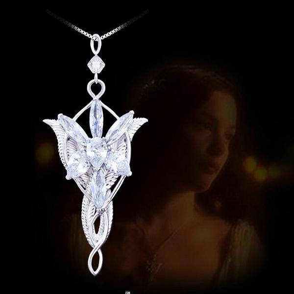 New Brand Zircon Silver Color Evenstar Arwen Necklace Copper Pendant 5.0*3.0cm with 50cm Chain The Lord Film Jewelry For Women Free Shipping