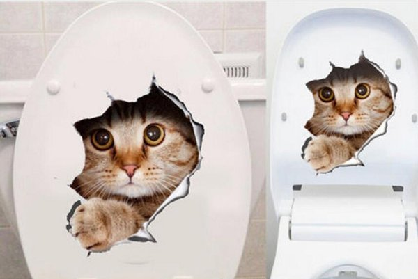 3D Wall Stickers Cats Dogs Decals Kitchen Refrigerator Kids Rooms Toilet lid Cat Dog Printed Stickers for Living Room Hot Sale