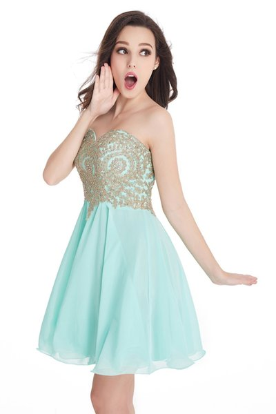Different Colors 2017 Real Photos Lovely Sweetheart Gold Lace Mint Green Chiffon Bridesmaid Dresses Short Party Dress CPS406