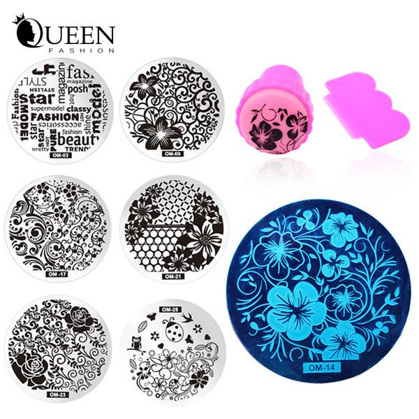 Wholesale- New 60Designs Nail Art Stencils Stamping Template,10pcs/lot Polish Print Nail Image Plate Stamper Scraper Set DIY Manicure Tools