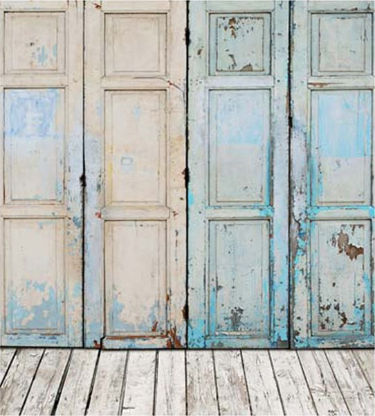 Fondale in legno dipinto a mano blu Fondali in legno Retro Vintage Bambini Neonato Servizio fotografico Puntelli in studio Sfondi 5x7ft
